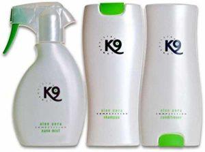 K9de compétition–1x 300ml K9Competition Shampoing à l'aloe vera pour chien + 1x 300ml K9Competition Après-shampoing à l'aloe vera + 1x 250ml à l'aloe vera K9Competition Nano Brume