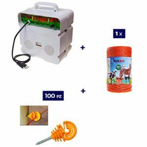 Kit Complet pour Clôture Électrique Clôture Électrifiée pour Animaux Chevaux Chiens Vaches Poules: 1 x Electrificateur 220V + 1 x Fil 500 MT 4 Mm² + 100 pcs Isolateur pour Piquets en Bois