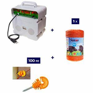 Kit Complet pour Clôture Électrique Clôture Électrifiée pour Animaux Chevaux Chiens Vaches Poules: 1 x Electrificateur 220V + 1 x Fil 500 MT 6 Mm² + 100 pcs Isolateur pour Piquets en Bois