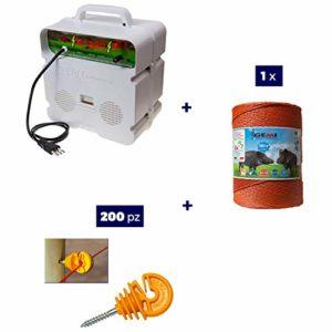 Kit Complet pour Clôture Électrique Clôture Électrifiée pour Animaux Sangliers Chien Chevaux: 1 x Electrificateur 220V + 1 x Fil 1000 MT 6 Mm² + 200 pcs Isolateur pour Piquets en Bois