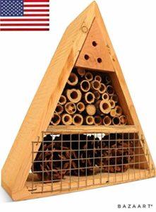 Mason Bee House – Hôtel d'abeille Naturelle Faite à la Main – La Ruche d'abeille Attire Les pollinisateurs d'abeilles paisibles pour améliorer la productivité du Jardin