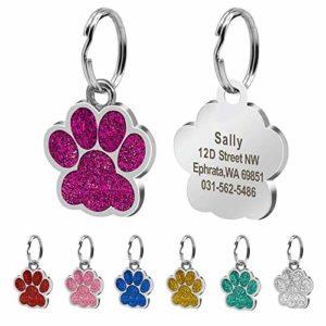 Médaillon d'identification Berry en forme de patte personnalisable pour chiens et chats – 24mm – Acier inoxydable