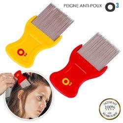 O³ Peigne Poux – 2 Peignes Anti Poux et Lentes – Dents Métalliques Adaptées