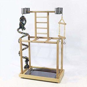 Parrot oiseaux élevés balançoire échelle de corde d'escalade de terrain de jeu en bois de présentoir cloche jouet -S,S