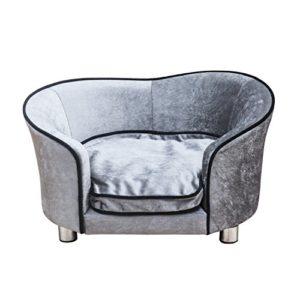 Pawhut Canapé pour Chien Chat – lit de Chien – Panier – accoudoirs, Dossier, Coussin Amovible – dim. 69L x 49l x 38H cm – Gris Clair