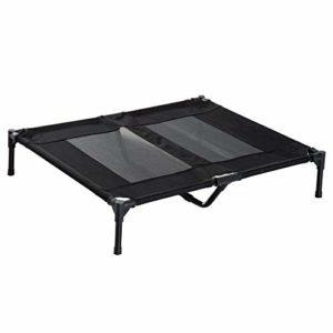 Pawhut Lit sur Pieds pour Chien Chat lit de Camp Animal 92L x 76l x 18H cm Noir