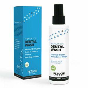 PETUCHI Spray Dentifrice pour Chiens; 100% Bio pour Estomacs Sensibles; Contre la Plaque, Tartre et la Mauvaise Haleine; sans Brossage ni Rinçage; 150ml