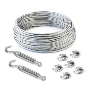 SET 25m câble acier galvanisé 6×7 4mm + 6 serre-câbles étrie et 2 tendeurs a cage crochet-oeil