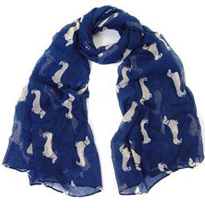 World of Shawls – Écharpe Imprimer Teckel Chiens – Echarpe Toutes Saisons – Grande Taille – Petit Mini Chien Saucisse – 100 x 180 cm, Bleu marine