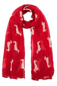 World of Shawls – Écharpe Imprimer Teckel Chiens – Echarpe Toutes Saisons – Grande Taille – Petit Mini Chien Saucisse – 100 x 180 cm, Rouge