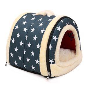 2 in 1 Pet house et canapé-lit, Intérieur et Extérieur Portable Foldable chenils / Lit Pour Chat (M, Bleu)