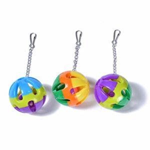 Agger Trois Billes Bells Sling Boule Mixte Couleur Oiseau Cloche Boule Jouet Boule Pet Toy (Plastique, 3pc)