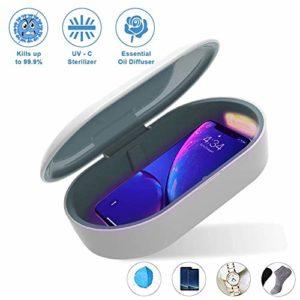 AIWKR Boîte De Stérilisation UV, Désinfectant UV Portable, Boîte De Désinfection De Chargeur sans Fil 2 en 1 10w, Boîte De Stérilisation UV avec Fonction D'aromathérapie