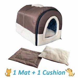 ANPI 2 en 1 Niches & Maison d'Animal Familier, Antidérapant Pliable Doux Chaud Chien Chat Chiot Lapin Pet Nid Grotte Maison Lit avec Coussin Amovible, 3 Tailles (M, Brune)
