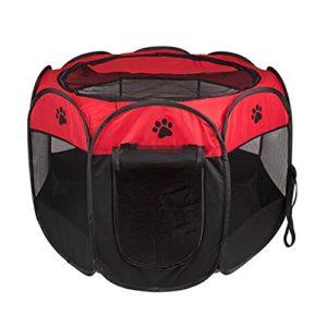 BIGWING Style Parc Chien Parc à Chiot Enclos pour Chiens Chats Lapins Pliable Utiliser à l'intérieur et à l'extérieur (rouge)