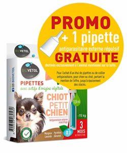 Biovetol – Offre Speciale – Pipettes Anti-Puce pour Chiot et Petit Chien (- de 15Kg) – 3×1,5ml + 1 Offerte