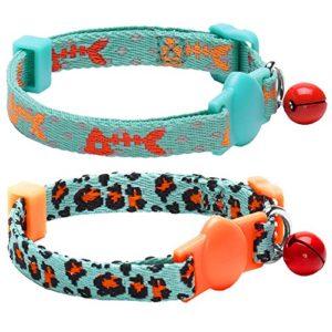 Blueberry Pet Lot de 2 Expedition Chasse Réglable Collier pour chat avec boucle anti-étranglement Motifs arête de poisson & Imprimé léopard