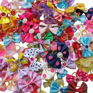 Chenkou-Nœuds-papillons pour toilettage de chiens avec bande en caoutchouc, strass, couleurs variées, lot de 20
