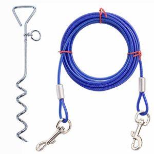 DALEI Piquet de triage pour Chien avec câble d'attache, Piquet Robuste et chaîne de Chien pour Le Camping ou l'arrière-Cour, idéal pour Les Chiens de Taille Moyenne,Bleu,10M/32ft