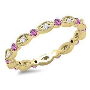DazzlingRock Collection 10 carats Or Jaune Rond I-J Rose Diamant Blanc Saphir Rose