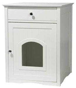 Dobar 35273 Mohrle Meuble de rangement pour chat avec tiroir Blanc 52 x 48 x 63 cm