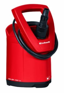 Einhell Pompe d'évacuation eaux claires GE-SP 750 LL (750 W, Débit max. 15.000 l/h, Hauteur de refoulement 10 m, Profondeur d'immersion 5 m, Pression 1 bar, Hauteur d'aspiration à plat 2 mm, Température de l'eau 35 °C, Diamètre de la particules 5 mm)