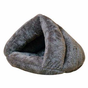 Fablcrew Coussin Maison Lit pour Chien Chat Animaux Petite Taille Lit pour Chien Doux et Chaud pour Animal Domestique Cave Size 45 * 45CM (Gris)