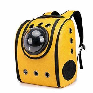 FELICIPP Chat Chien Pet Sac À Dos Chiot Voiture Voyage Sac Space Capsule Sac À Dos Respirant en Plein Air Étanche (Color : Yellow)