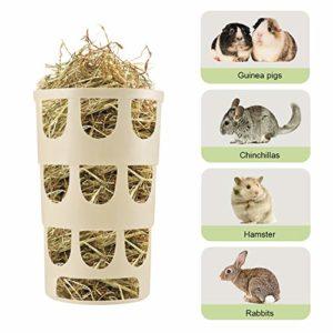 Furpaw Râtelier à Foin pour Petits Animaux, Distributeurs Nourriture Gamelle en Plastique Hangable Manger Poreux, Cage Accessoires pour Lapins Hamster Chinchillas – Kaki