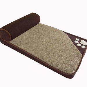 Inconnu Oxford lit Tissu de Chien, lit orthopédique Skid Secours Sellette, lit Mobile rembourré Mat Brown L