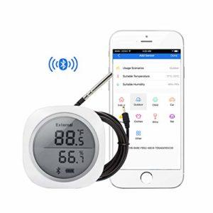 Inkbird IBS-TH1 Plus Digital Hygrometre Interieur Thermometre sans Fil avec Sonde Température Externe,Enregistreur Temperature Humidité pour Cave Cigare,Cave Vin,Mini Serre,Terrarium,Piscine Aquarium