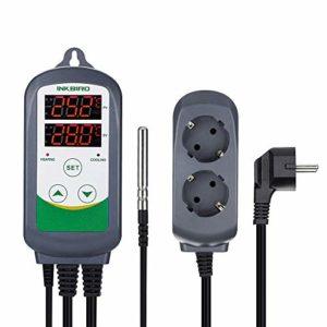 Inkbird ITC-308 EU Prise Refroidissement et Chauffage Aquarium Thermostats Numérique 100-240V, Contrôleur de Température pour Lampe/Cable Chauffant,Serre,Terrarium,Incubateur Reptile+ NTC Sonde Capteur