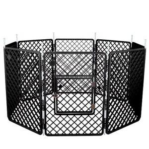 Iris Ohyama, parc pour chien / cage d'extérieur / enclos / chenil 8 éléments – Pet Circle – H-908, plastique, gris foncé, 11,4 kg, 60 x 60 x 86 cm