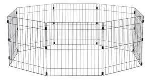 Iris Ohyama, parc pour chien / cage d'extérieur / enclos / chenil – Wire Pet Circle – 24 pouces, epoxy, noir, 1,5m², 60 x 60 cm