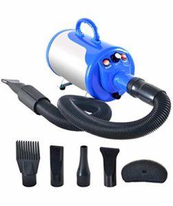 JFJL Animal De Compagnie Cheveux Toilettage Séchoir pour Chiens & Chats avec 4 Buses,3.2HP Vitesse Réglable en Continu Sèche-Cheveux pour Animaux De Compagnie Ventilateur avec Chauffage,Blue