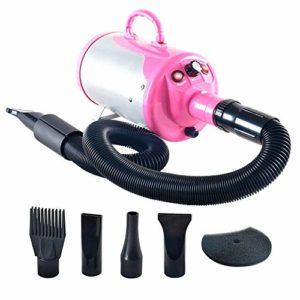 JFJL Animal De Compagnie Cheveux Toilettage Séchoir pour Chiens & Chats avec 4 Buses,3.2HP Vitesse Réglable en Continu Sèche-Cheveux pour Animaux De Compagnie Ventilateur avec Chauffage,Pink