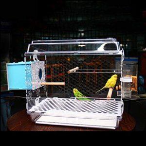 Jnzr Cage de Culture de Cage de Perroquet de Cage à Oiseaux, Villa Acrylique de Perroquet de Cage à Oiseaux avec Le bâton et l'incubateur de Station de conducteur pour la Reproduction d'oiseau,TypeB