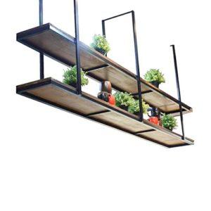 JTWJ Plafonnier Vintage Ceiling Truss en Bois Massif et Fer, Tablette pour Restaurant et Famille – Etagères d'armoire et étagères (Taille : 150×30×80cm)