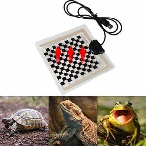 Julymall Coussin chauffant pour reptile, thermostat, tapis chauffant USB pour animaux domestiques, tortue, serpent, lézard, hamster, lézard, couverture anti-rayures, 14 x 15 cm
