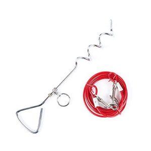 JunBo Set Câbles et Piquets d'attache pour Chien en Acier Inoxydable pour Exterieur Jardin Cour (5M, Rouge)