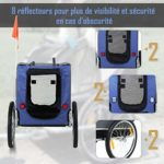 Pawhut Remorque vélo pour Chien Animaux Pliable 8 réflecteurs Drapeau Barre attelage Inclus Acier Polyester imperméable Max. 40 Kg 130L x 73l x 90H cm Bleu