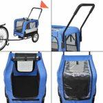 Pro Tec Remorque Vélo pour Chien Animaux avec Roue Frontale Réflecteurs et Drapeau Rouge Barre d'Attelage Capacité 20 kg 143 x 67 x 96 cm Acier PVC et Polyester Bleu Gris Noir