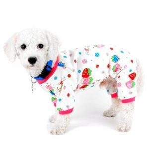 SELMAI Pyjama pour petits chiens, chats, fraises doublées en polaire, vêtement d'intérieur pour chien, chiot