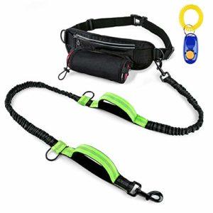 Szelam Laisse pour chien mains libres pour course à pied avec réglable multifonctionnel Sac de ceinture, réfléchissant élastique Laisse pour chien avec 2poignées(1Extra Sifflet Clicker)