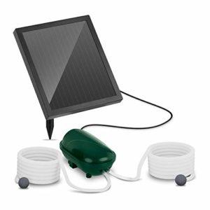 Uniprodo Pompe À Air pour Bassin Aérateur Solaire UNI_Pump_02 (2 Pierres D'Oxygénation, 200 l/h d'air, Portée De 5 m, Module Photovoltaïque 1,35 W)
