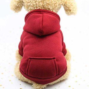 Vêtements Chauds D'Hiver, Vêtements De Chien De Hoodies, Vêtements De Chien De Coton D'Animal Familier L/Rouge