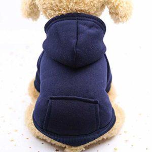 Vêtements Chauds D'Hiver, Vêtements De Chien De Hoodies, Vêtements De Chien De Coton D'Animal Familier M/Bleu