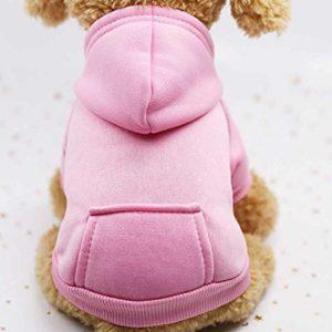 Vêtements Chauds D'Hiver, Vêtements De Chien De Hoodies, Vêtements De Chien De Coton D'Animal Familier S/Rose