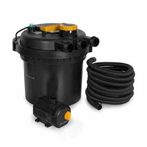 Waldbeck Aquaklar Kit de filtre sous pression pour bassin – clarificateur UV-C 11W, pompe immergée 35W et câble de 10m, pour bassins avec/sans poissons jusqu'à 3000/6000L, capacité du filtre: 9000l/h
