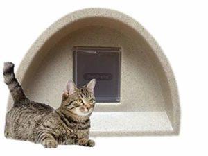 WOW Nouveau Modèle – Niche Abri pour chat/Chat avec carré d'extérieur à rabat